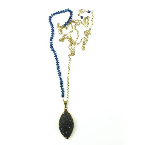 "28"" Royal Blue Druzy Necklace-327"