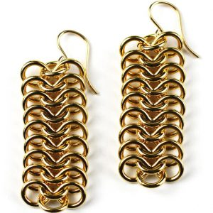 Long Gold Ribbon Chain Earrings-0