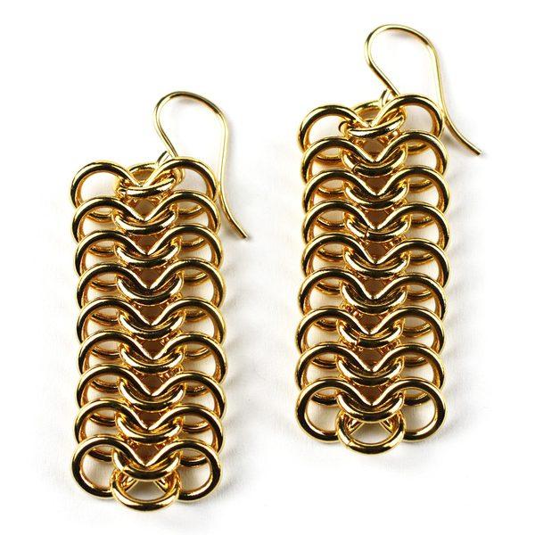 Long Gold Ribbon Chain Earrings-0