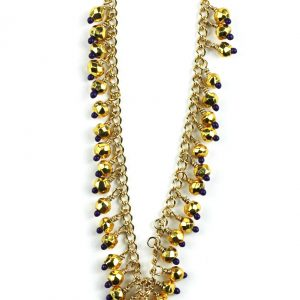 Purple / Gold Hand-Painted Necklace-0