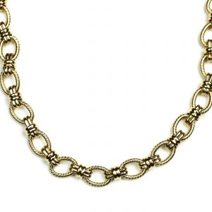 Gold Criss Cross Chain Necklace-0
