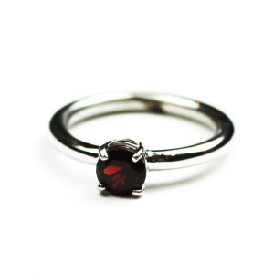 Garnet Solitaire Stack Ring-0