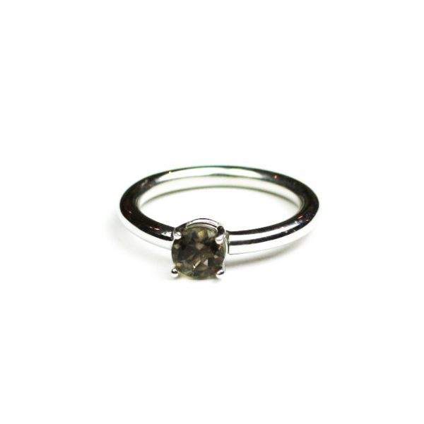 Smokey Quartz Solitaire Stack Ring-1644