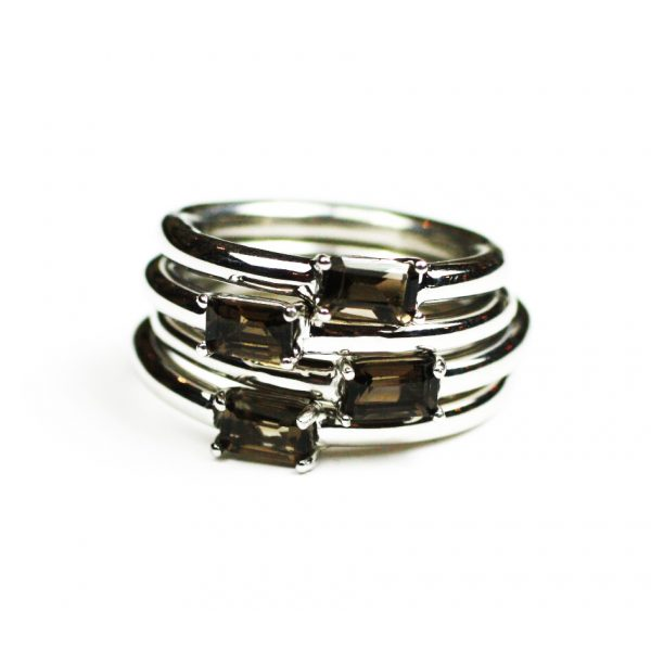 Smokey Quartz Baguette Stack Ring-1643