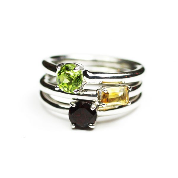 Garnet Solitaire Stack Ring-1637