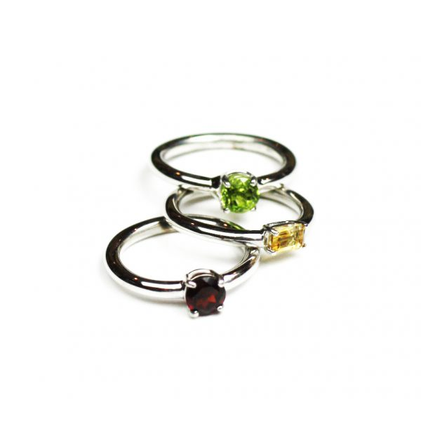 Garnet Solitaire Stack Ring-1639