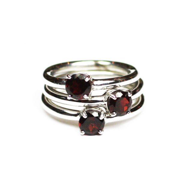 Garnet Solitaire Stack Ring-1638