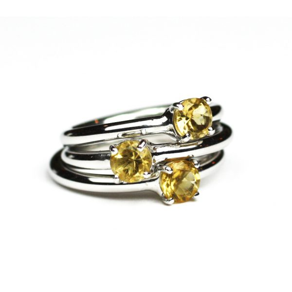Citrine Solitaire Stack Ring-1653