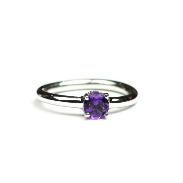 Amethyst Solitaire Stack Ring-1648