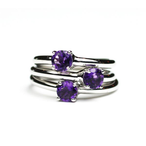 Amethyst Solitaire Stack Ring-1649