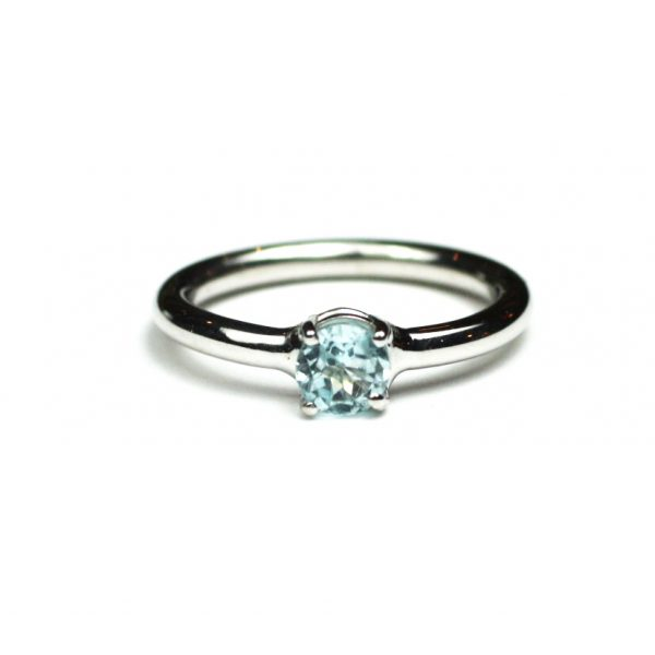 Blue Topaz Solitaire Stack Ring-1659