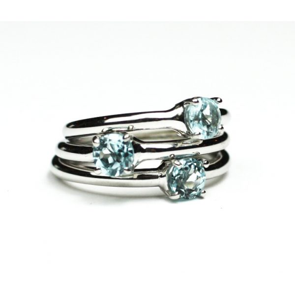 Blue Topaz Solitaire Stack Ring-1657
