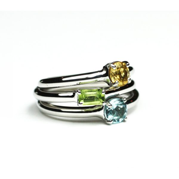 Blue Topaz Solitaire Stack Ring-1658