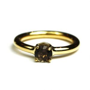 Smokey Quartz Solitaire Stack Ring-0
