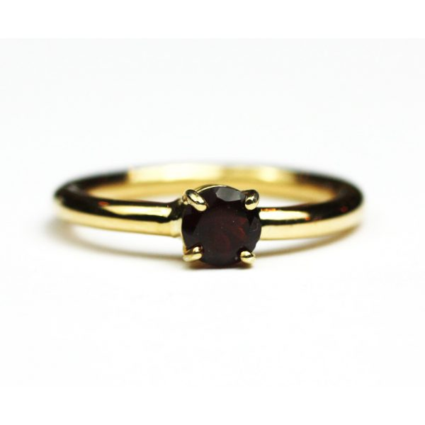 Garnet Solitaire Stack Ring-1694