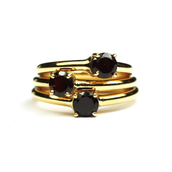 Garnet Solitaire Stack Ring-1695