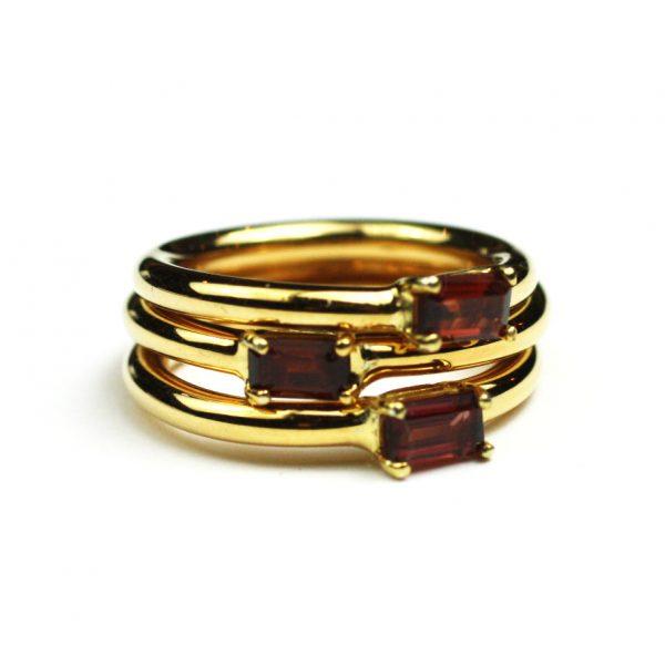 Garnet Baguette Stack Ring-1688