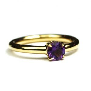 Amethyst Solitaire Stack Ring-0
