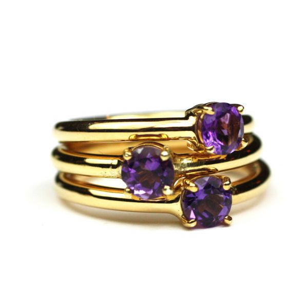 Amethyst Solitaire Stack Ring-1682