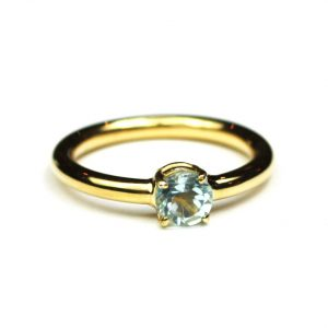 Blue Topaz Solitaire Stack Ring-0