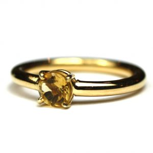Citrine Solitaire Stack Ring-0