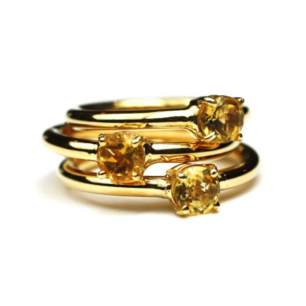 Citrine Solitaire Stack Ring-1677