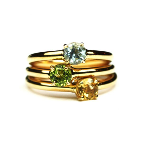 Citrine Solitaire Stack Ring-1675