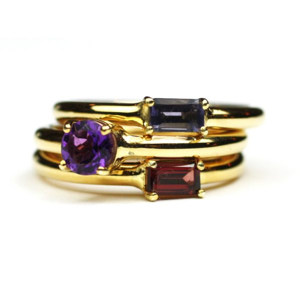 Amethyst Solitaire Stack Ring-1683