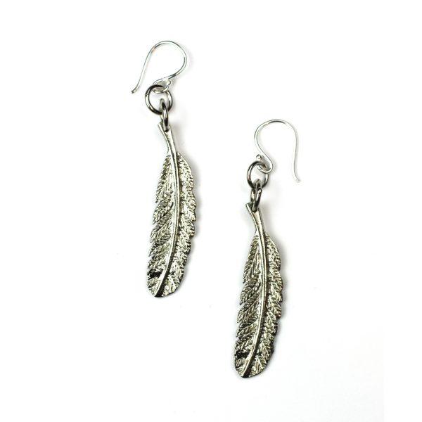 Silver Feather Earrings-0