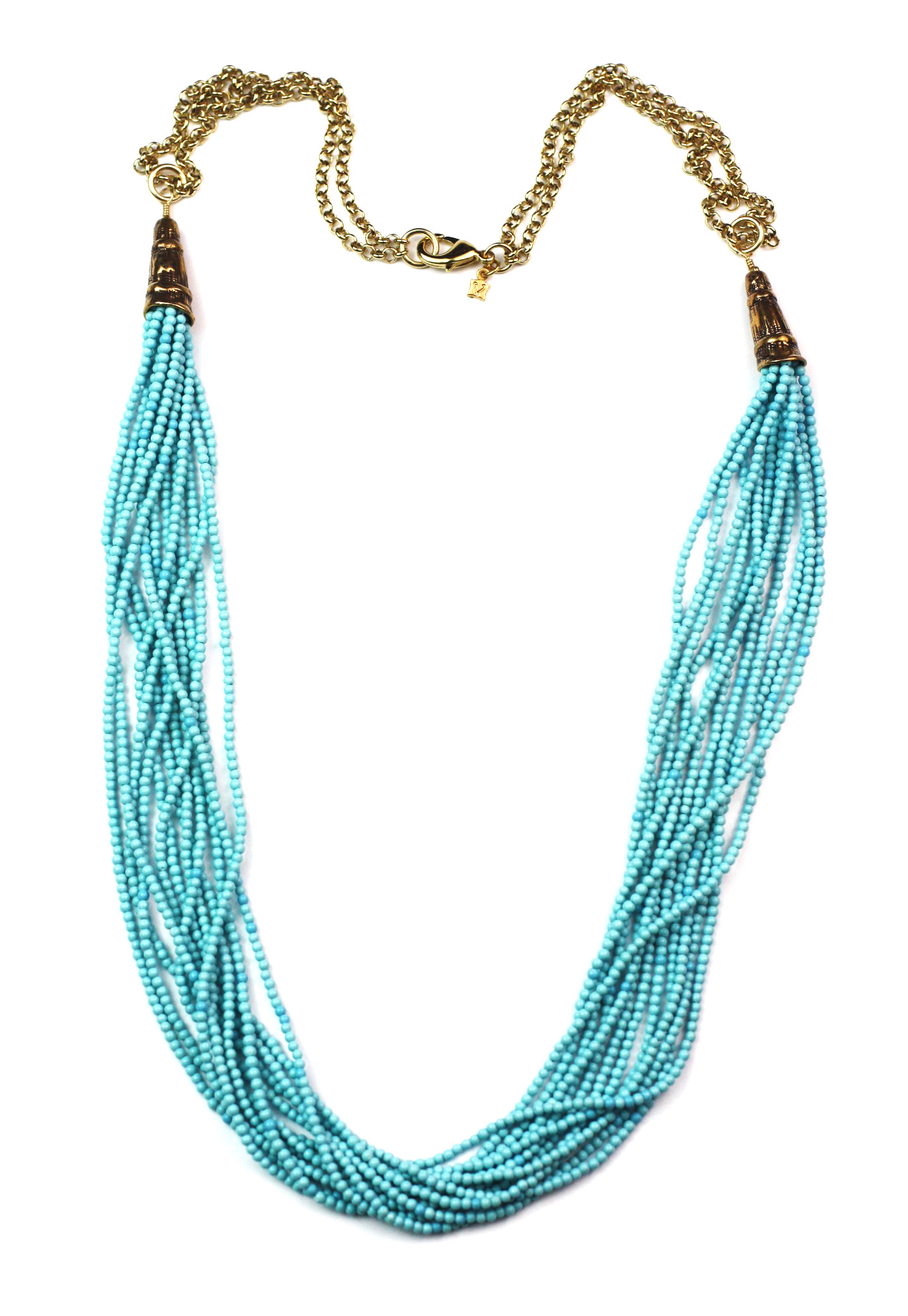 Multi strand turquoise colored necklace. Beautiful