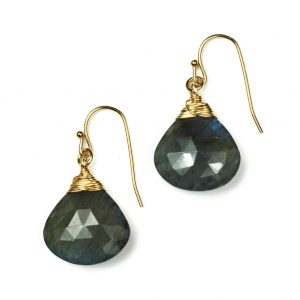 Gold Labradorite Briolette Earrings-0