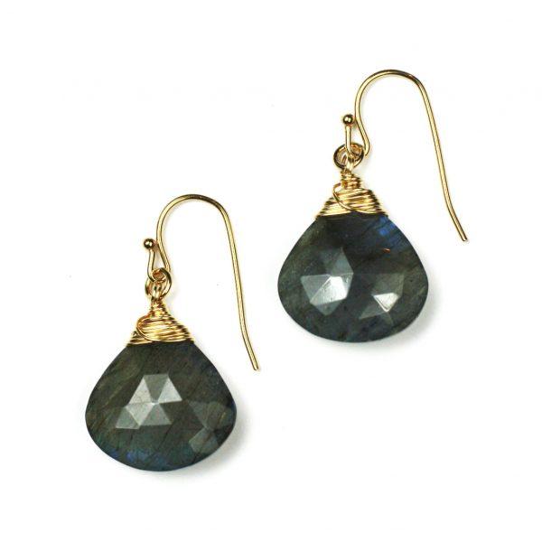 Gold Labradorite Briolette Earrings-0