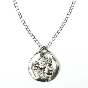 Silver Roman Pendant Chain Necklace-0