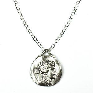Silver Roman Pendant Chain Necklace-0