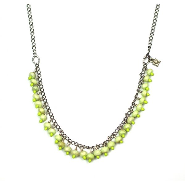 Hand Painted Lime Green Necklace-0