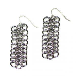 Long Silver Ribbon Chain Earrings-0