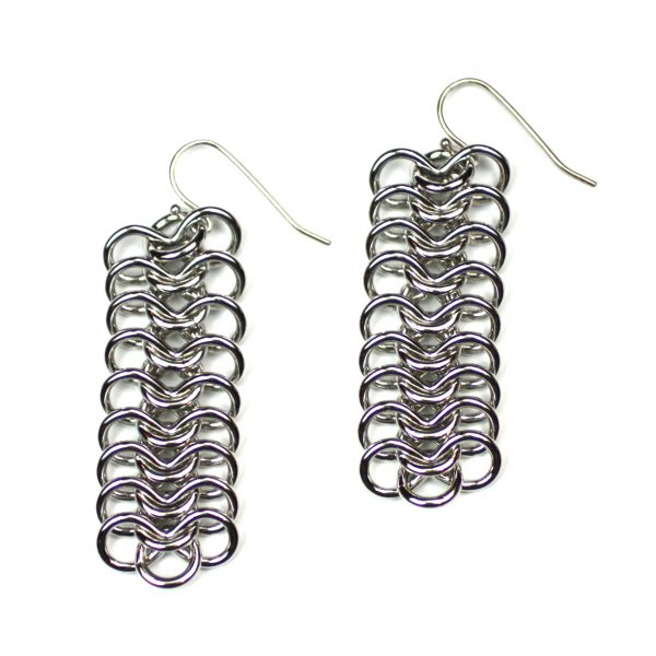 Long Silver Ribbon Chain Earrings-0