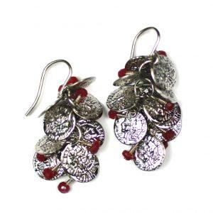 Silver / Ruby Gypsy Coin Earrings-0