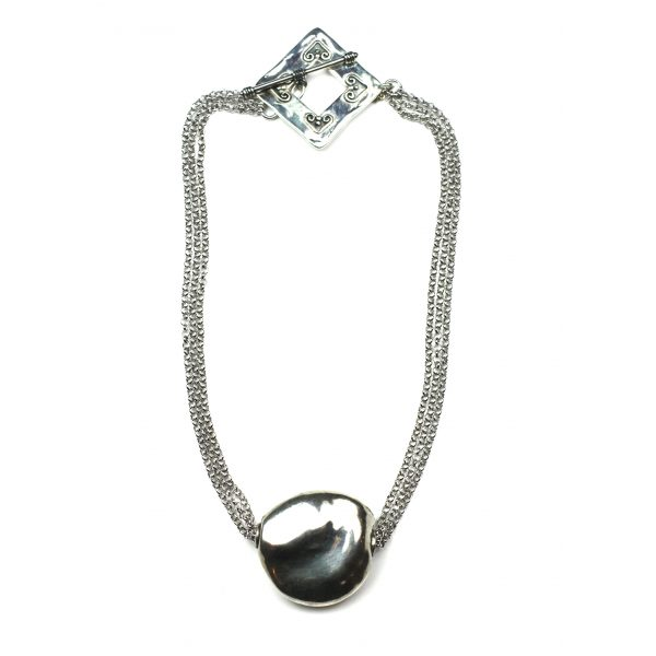 Silver Nugget Chain Necklace-0