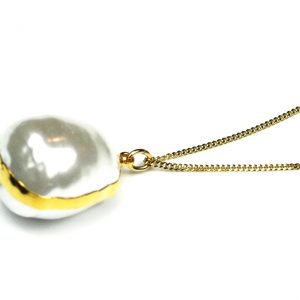 White Lotus Pearl Necklace (on delicate chain)-0