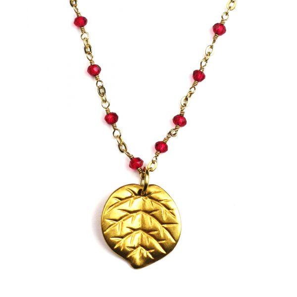 Pink Leaf Necklace-0