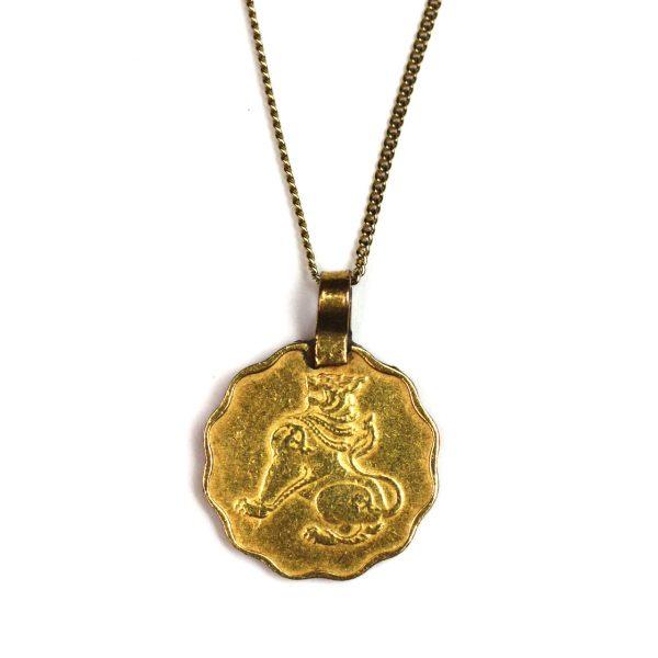 Simple Lion Coin Necklace-0