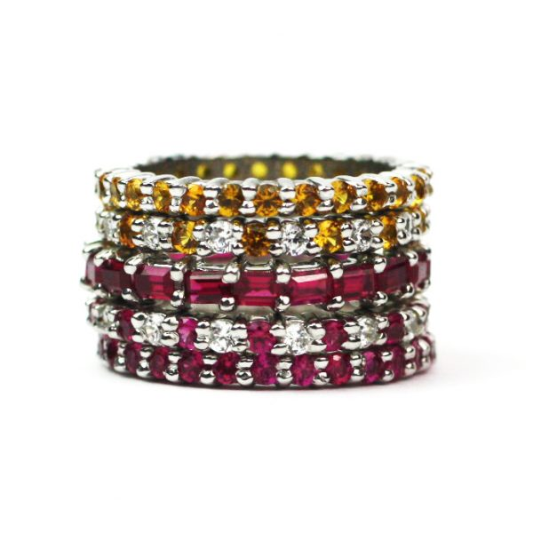 Solitaire Stack Rings-3381