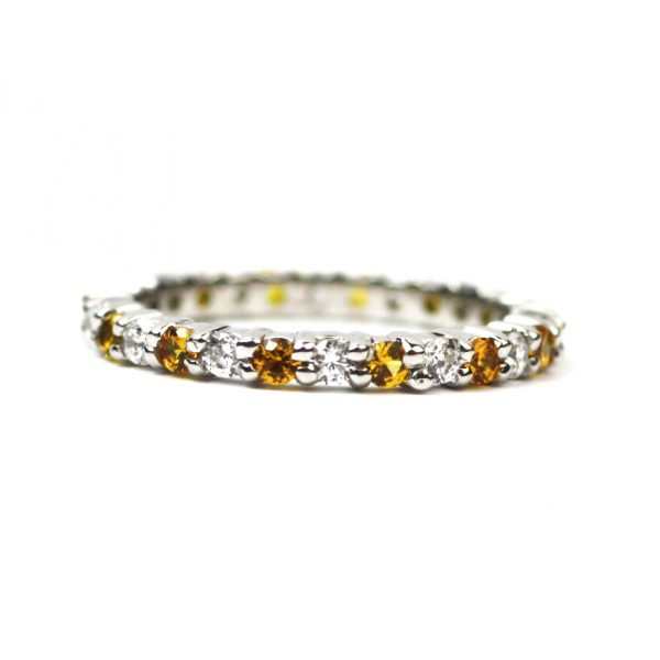 Alternating Solitaire Stack Rings-3371