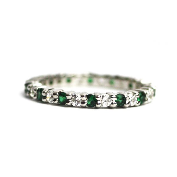 Alternating Solitaire Stack Rings-3369