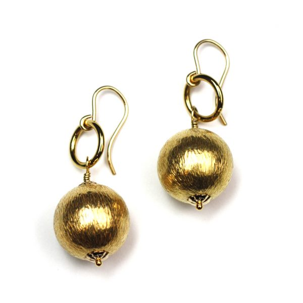 Simple Brushed Gold Earring-0