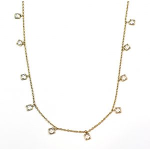 CZ Dangle Chain Necklace-0