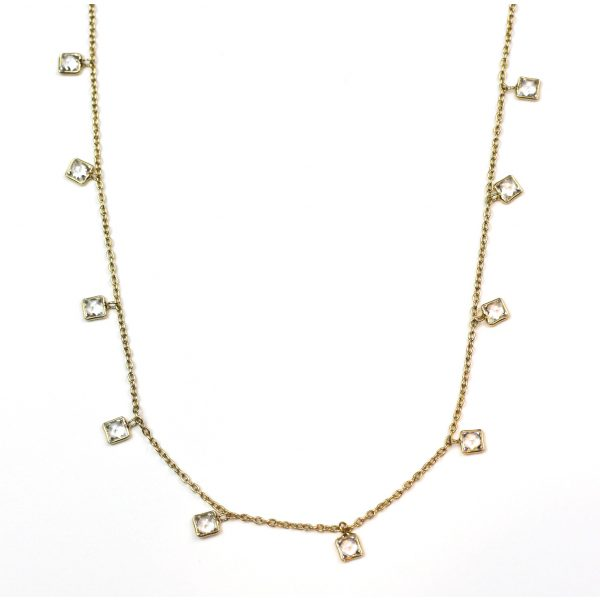 CZ Dangle Chain Necklace-0