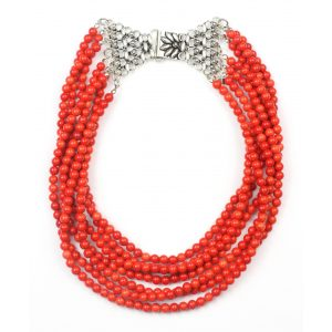 Bright Coral Statement Necklace-0