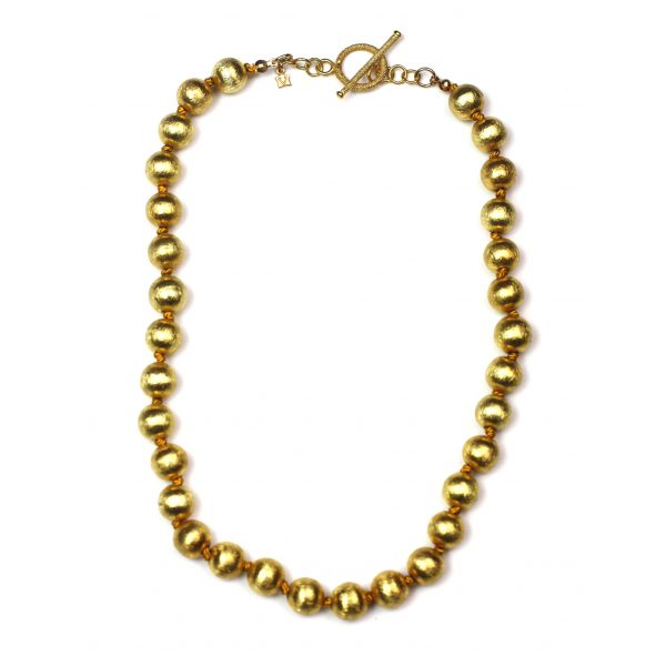 Petite Brushed Gold Necklace-0